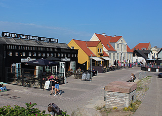 Summer atmosphere in the seaside holiday town of Lokken