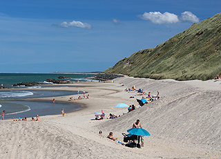 The lovely sandy beach with bathing guests by the high cliff in Lonstrup