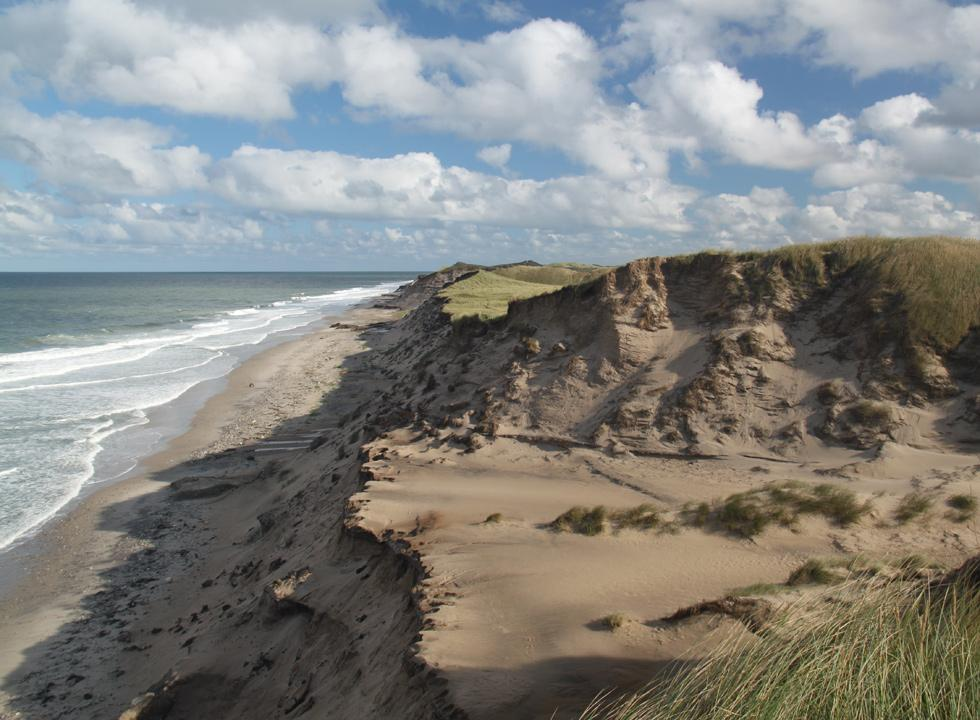 The North Sea shore below the lighthouse Lodbjerg Fyr in Nationalpark Thy, close to Lyngby, Thy
