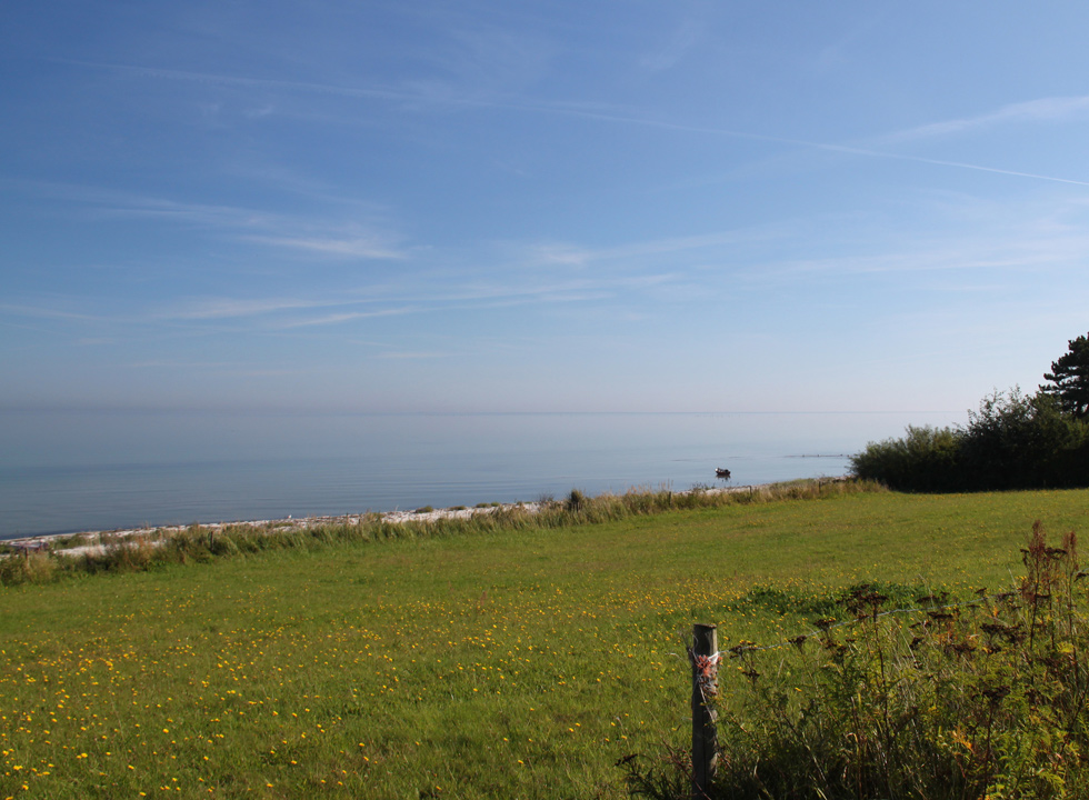 View of the sea and the beach of Lystrup from the green surroundings