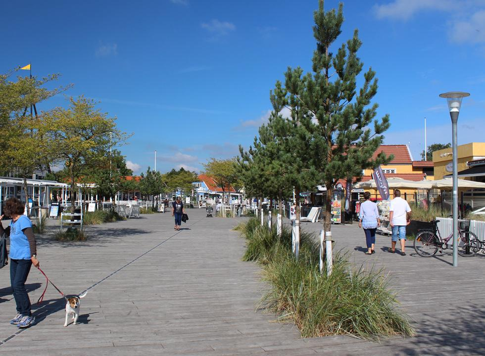 The charming town centre in the holiday town Marielyst