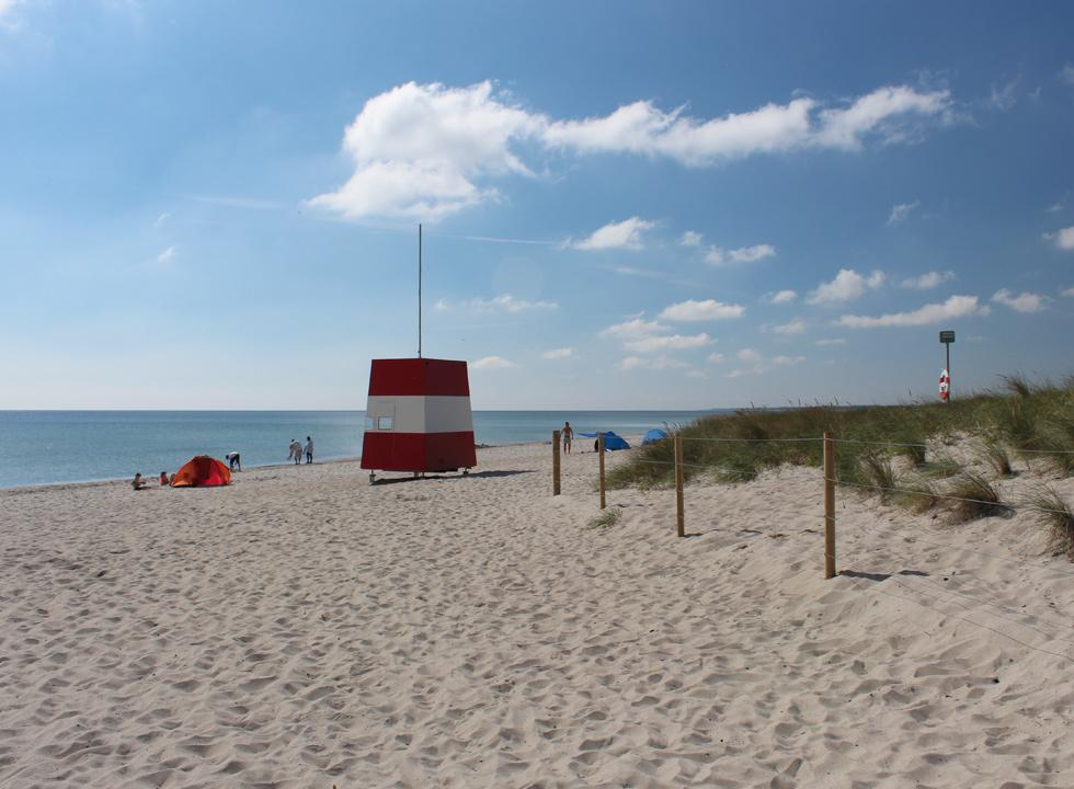 Life guard tower on the inviting sandy beach in the holiday area Marielyst
