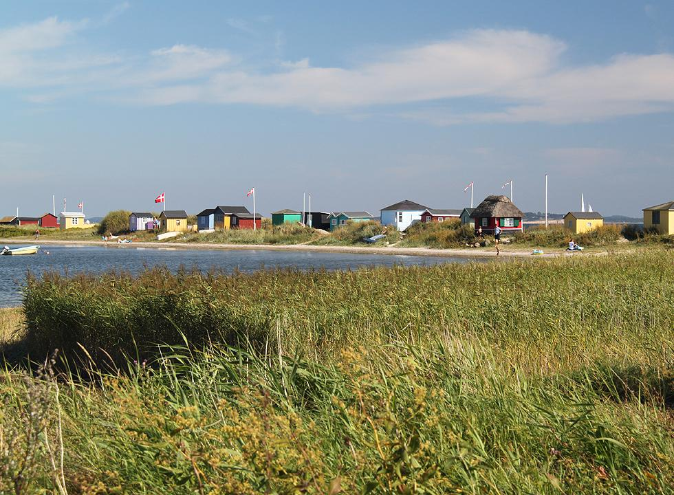 View of the beach huts on the tongue, Eriks Hale, in Marstal on Ærø
