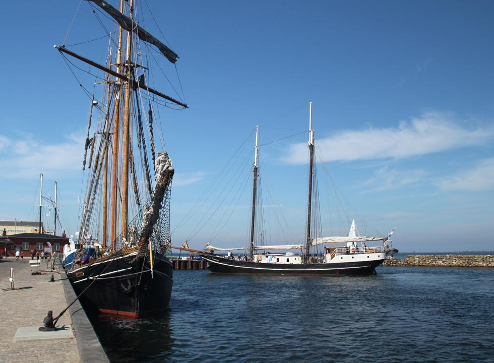 Large and beautiful sailships in the harbour in Marstal