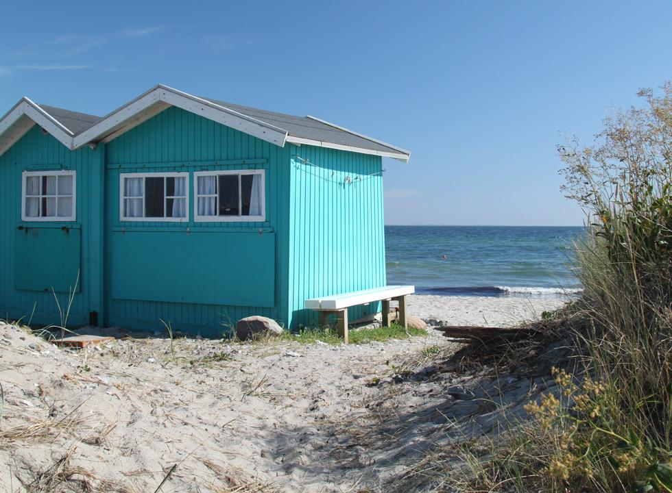 Beach huts with a unique view on Eriks Hale in Marstal