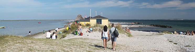 The cosy tongue, Eriks Hals, with beach huts and lovely beaches in Marstal on Ærø