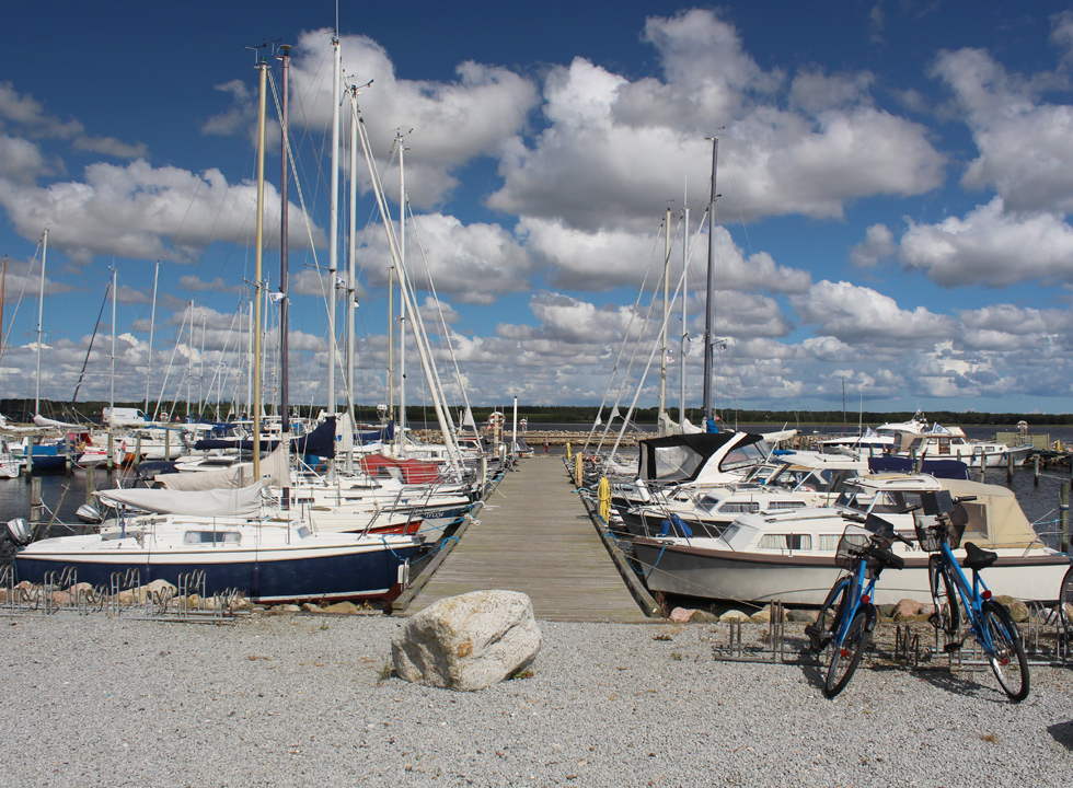 The marina in Mou is situated close to the holiday home area