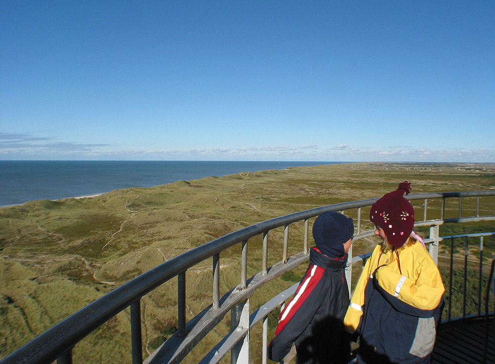 Children enjoy the view from the 36 metres high lighthouse in Nr. Lyngvig