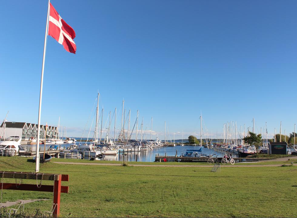 The large and cosy marina with large green spaces in Nykøbing Sjælland