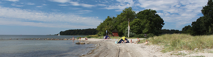 The beach in Nysted is a fine bathing beach with shallow and child-friendly water