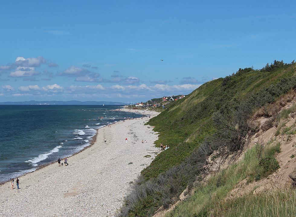 View towards Rågeleje and the western beach of the town from the nature area Heatherhill