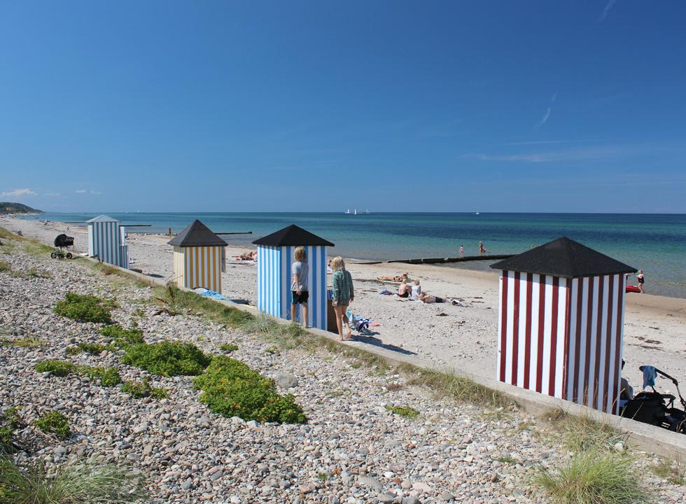 Idyllic beach huts on the eastern bathing beach in Rågeleje