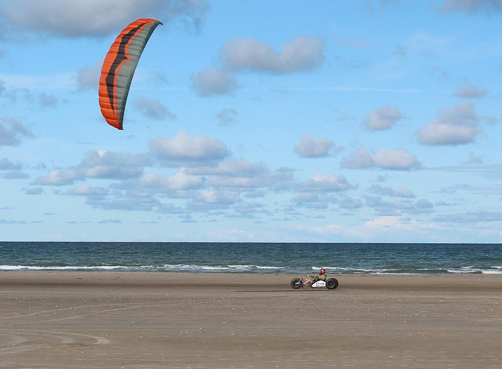Kite buggy on the wide North Sea beach in Rødhus