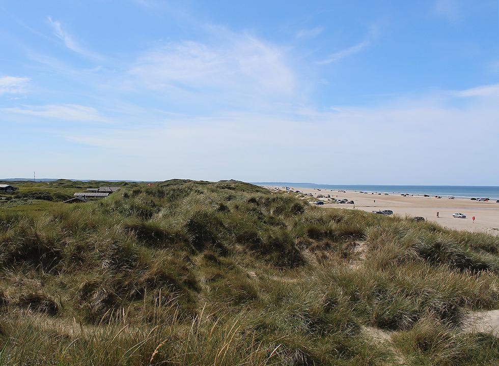View of the southern part of the beach in Rødhus from the high dunes