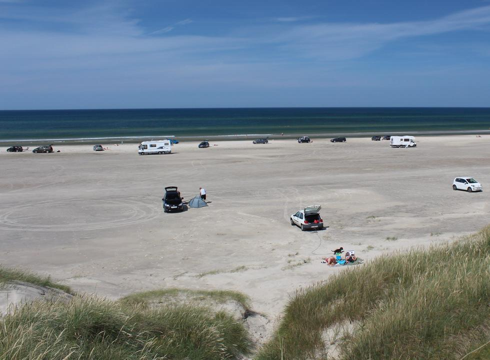 The bathing guests enjoy the wide sandy beach in Rødhus