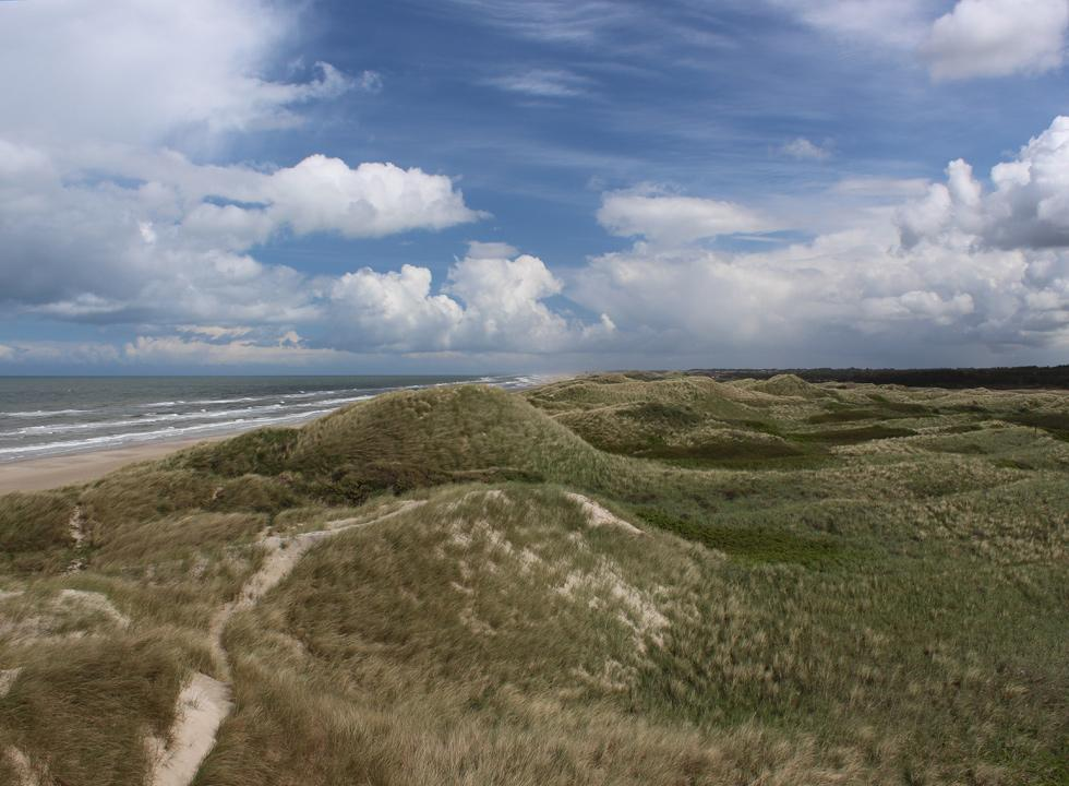 View of the beach of Rødhus and the hilly dune landscape towards north
