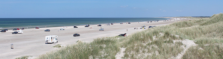The wide sandy beach with high dunes in Rødhus