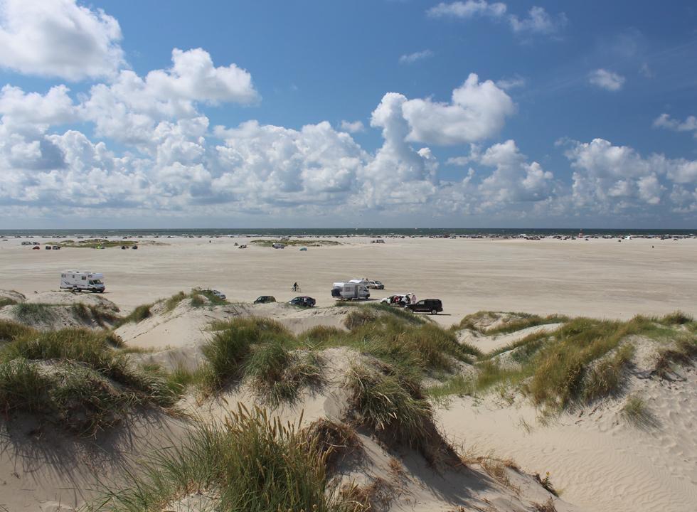 View of the beach, the small dunes and the sea from the high dunes behind the beach of Lakolk