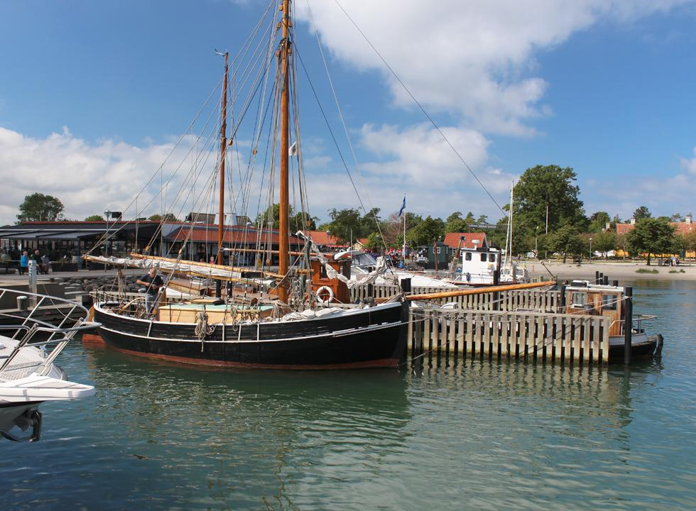 Beautiful old wooden ship in the harbour of Rørvig