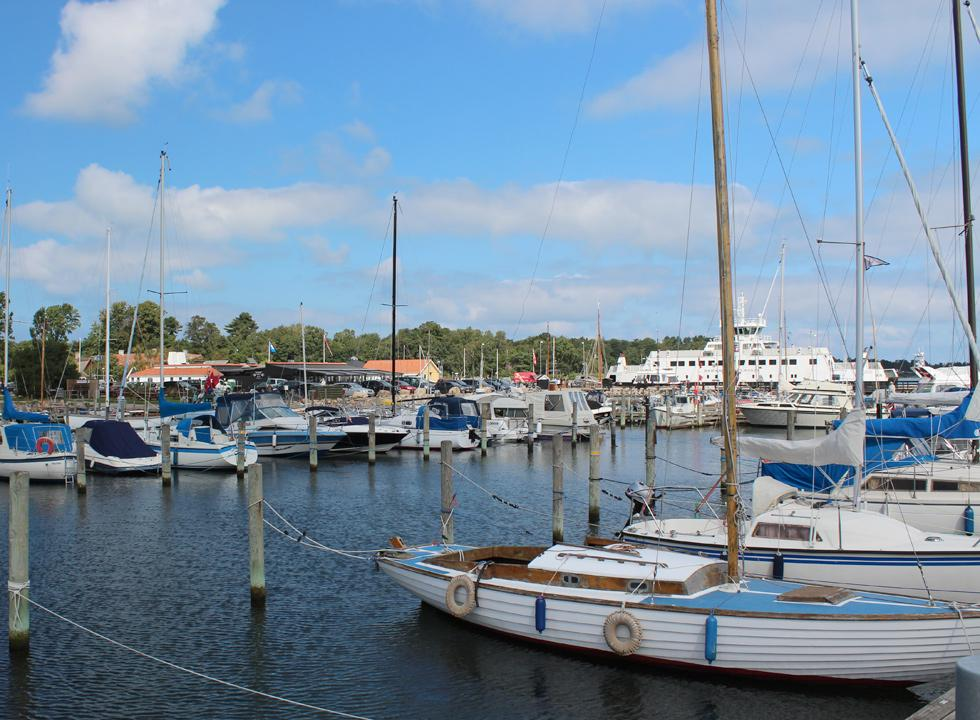 The marina in Rørvig is situated on the other side of the ferry harbour and eateries of the town