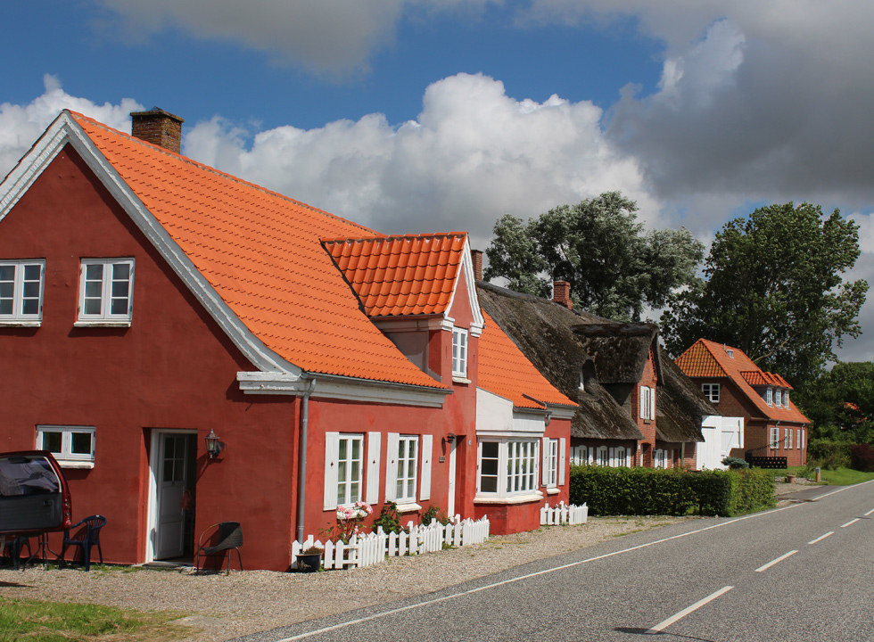 Beautiful old houses along the main street in Rudbøl