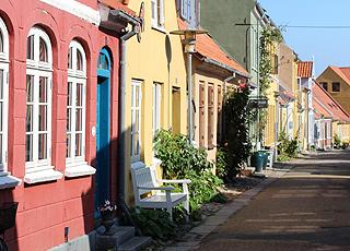 One of the charming streets with colourful houses in the centre of Rudkøbing