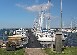 Rudkøbing has a large and beautiful marina, just below the bridge, Langelandsbroen