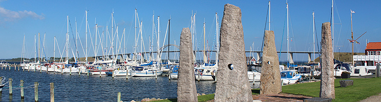 The charming marina in Rudkøbing and the bridge, Langelandsbroen, in the background