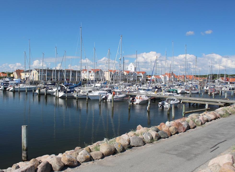 The large and charming marina is centrally located in the commercial town Sæby