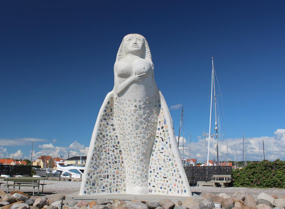 The landmark of Sæby, the figurehead Fruen fra Havet, is situated in the marina of Sæby