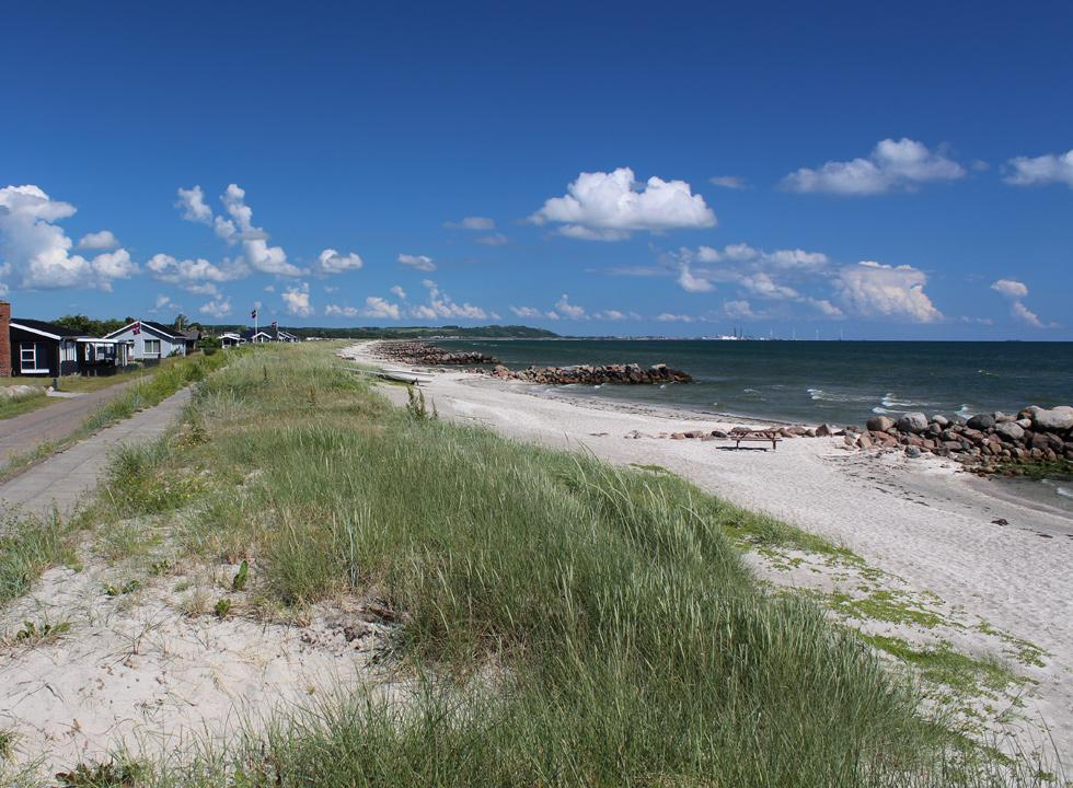 The bathing beach by the holiday homes in Sæby