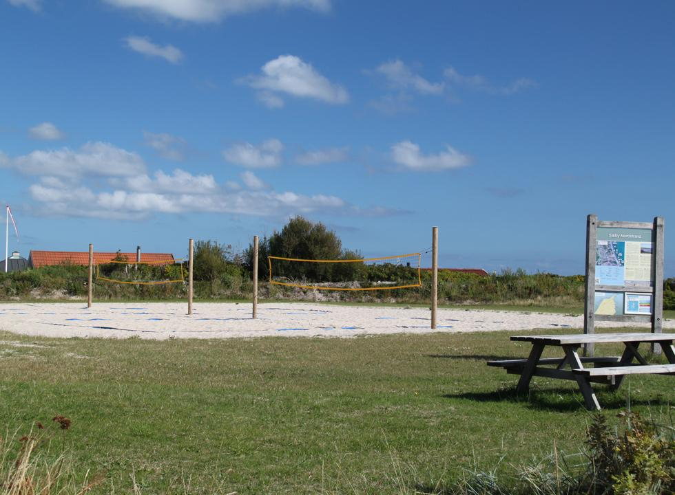 Net for ball games by the beach in Sæby