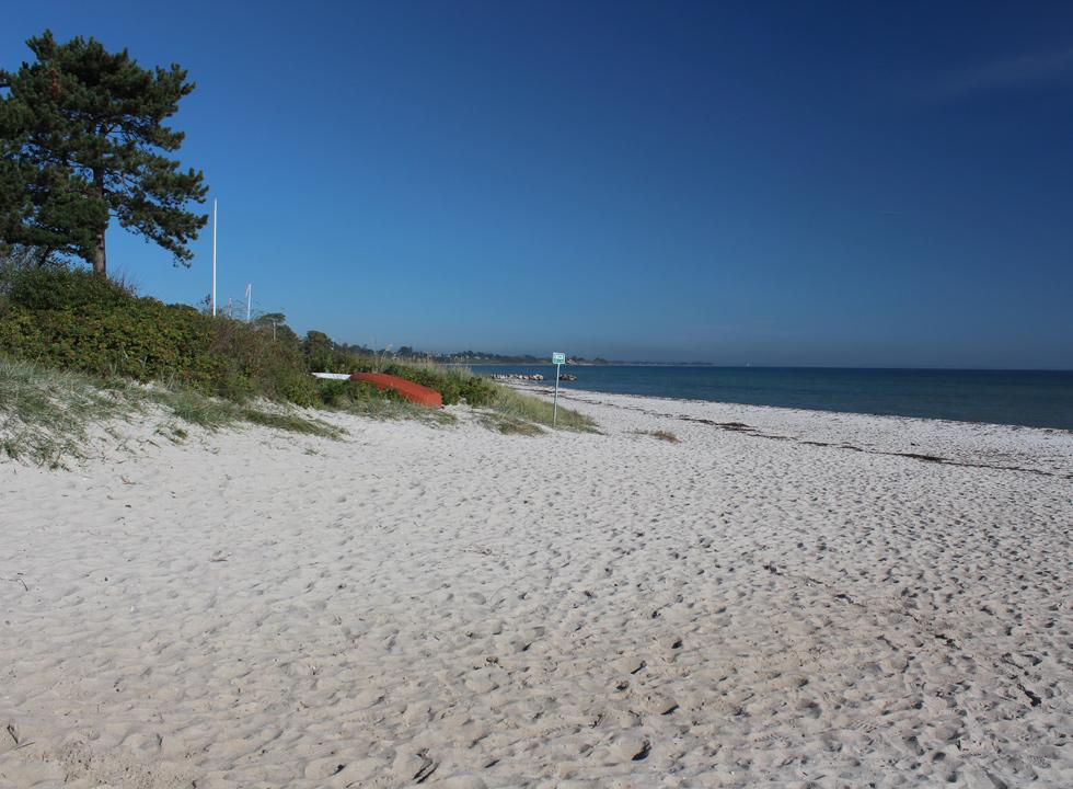 The soft white sand by the bathing beach in Saksild