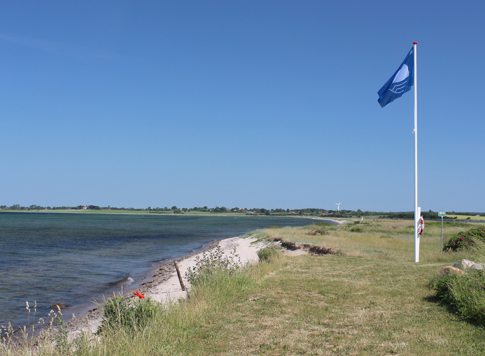 Blue flag by the bathing beach in the holiday home area Sandager Næs