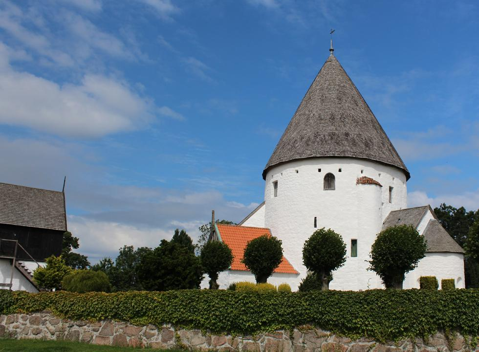 The impressive round church, Olsker Rundkirke, is situated just 4 km from Sandkås