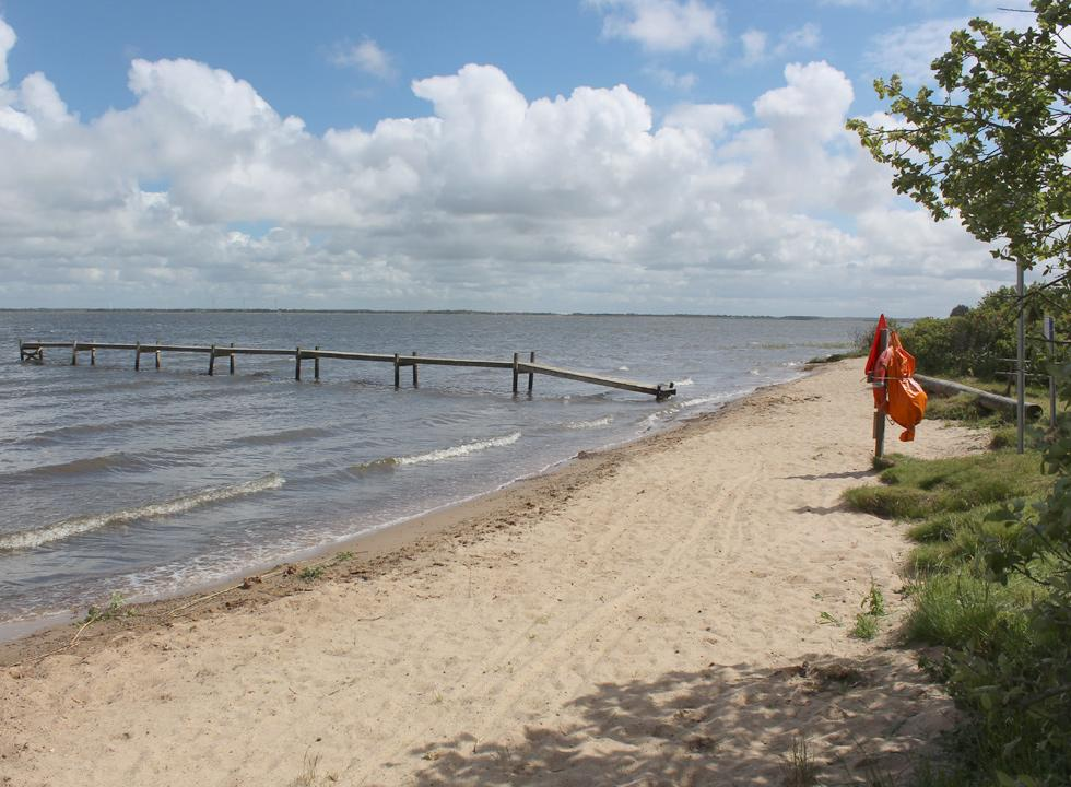 Enjoy the refreshing water of the inlet from the small sandy beach in Sdr. Nissum