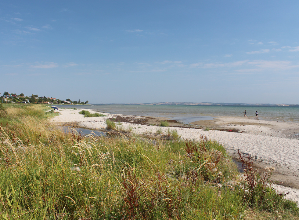 Lovely sandy beach and shallow child-friendly bathing water in Skæring