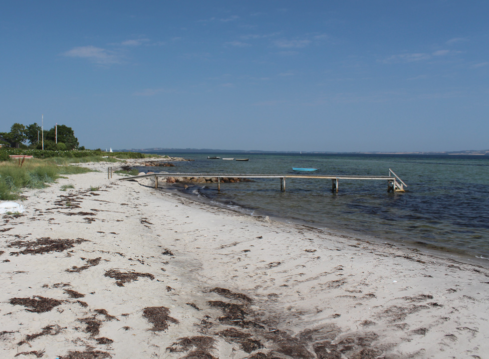 View of the shore and the bay Århusbugten from the northern beach in Skæring
