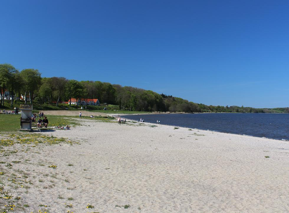 The wide sandy beach by the fores and marina in Skive