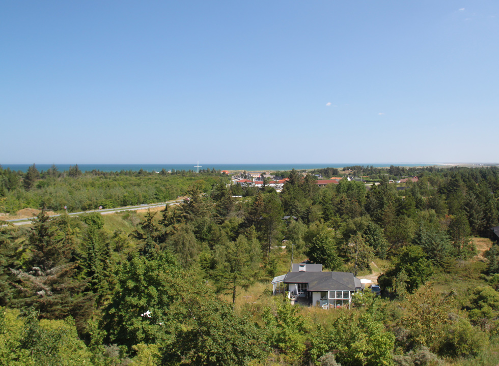 View of Slettestrand and the green hinterland from a hill behind the town