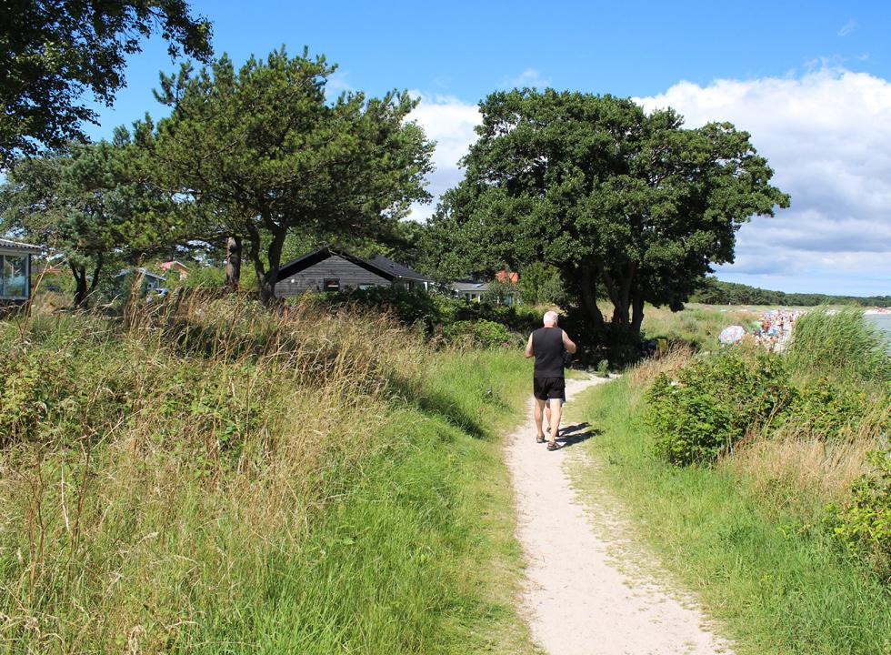 Path along the holiday homes in Snogebæk towards the long bathing beach