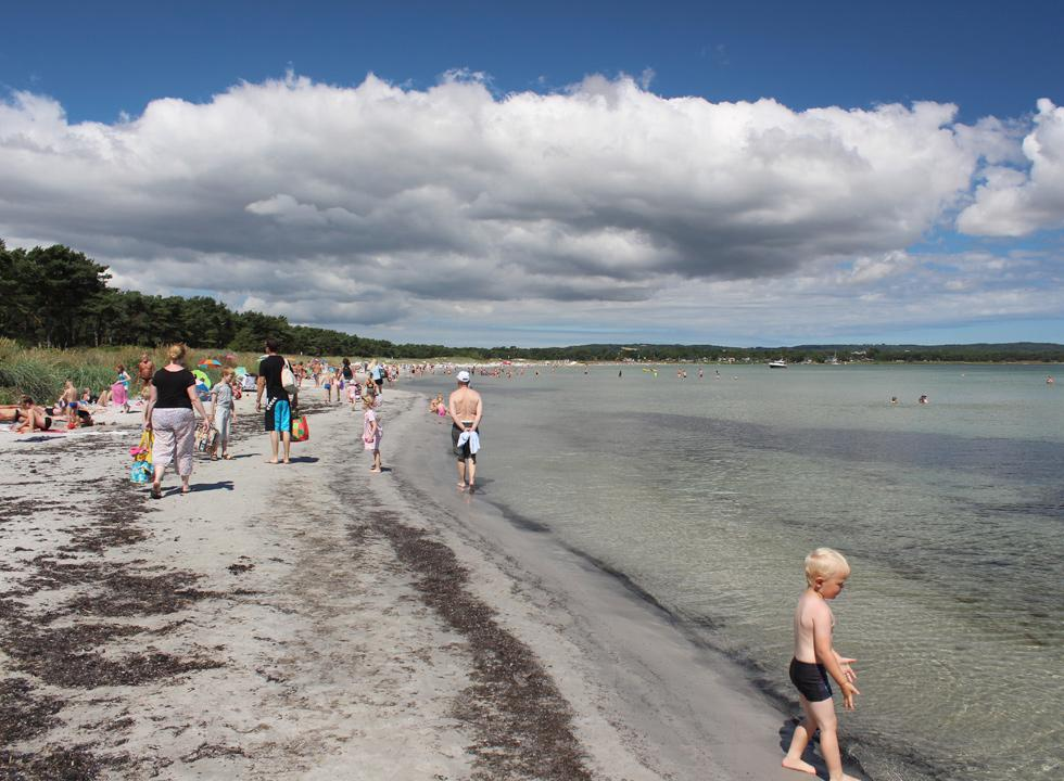 A summer day on the long bathing beach in the holiday home area Snogebæk