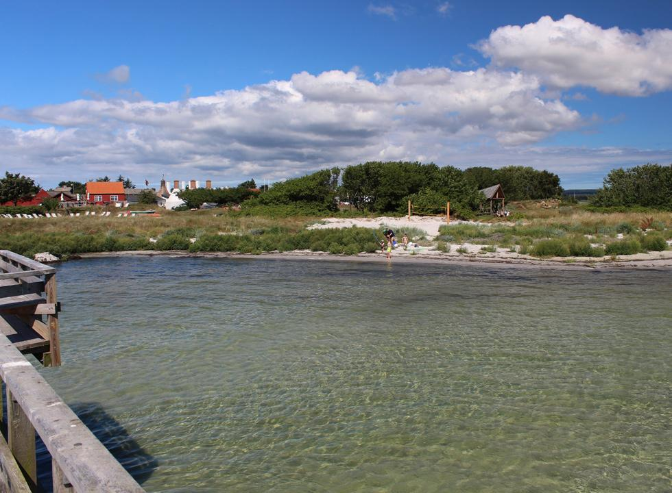 View towards the shore and the smokehouse chimneys of Snogebæk from the long pier
