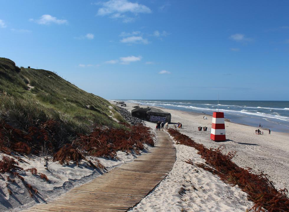 The path, which leads down to the bathing beach with lifeguard tower and bunkers in Sondervig