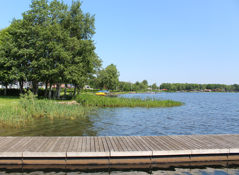 Landing stage and bathing jetty by the boat harbour of the lake Sunds Sø