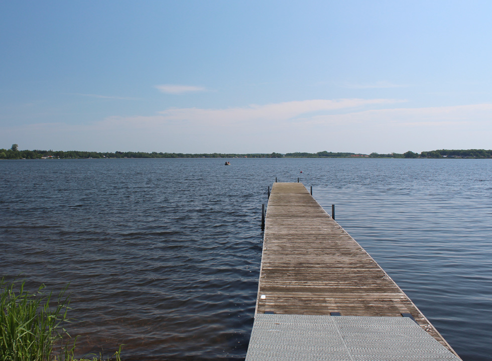 View of the lake Sunds Sø from the landing stage and bathing jetty in Sunds
