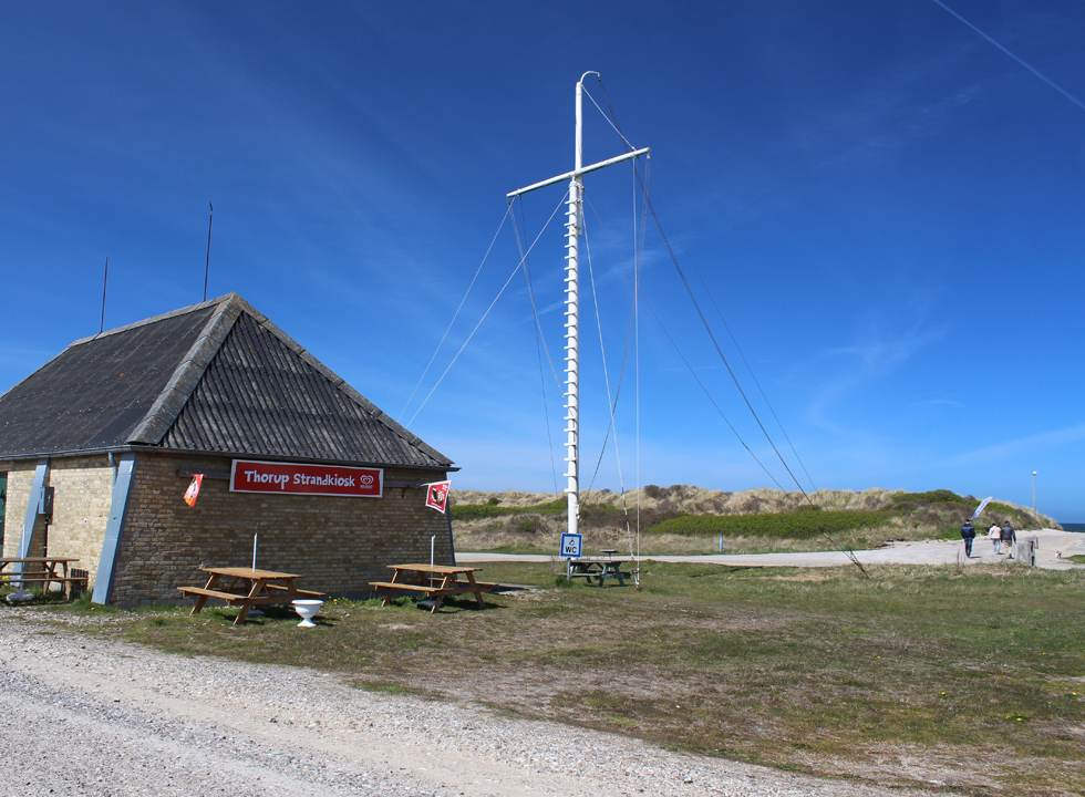 The ice-cream shop, Thorup Strandkiosk, is situated right behind the dunes in Thorup Strand