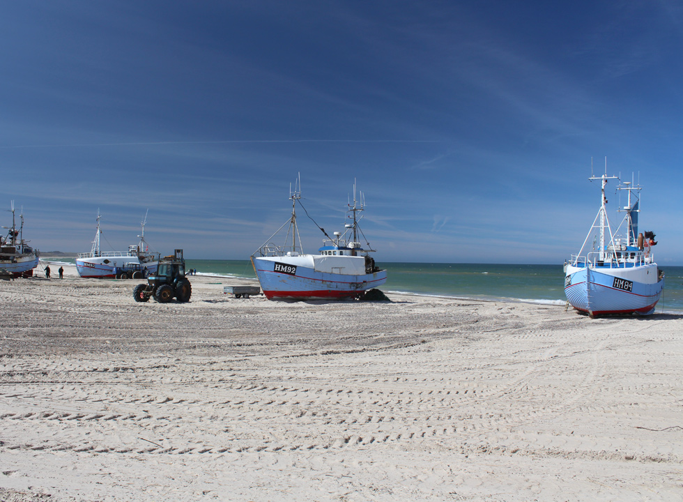 Fishing boats on the beach in the holiday area Thorup Strand