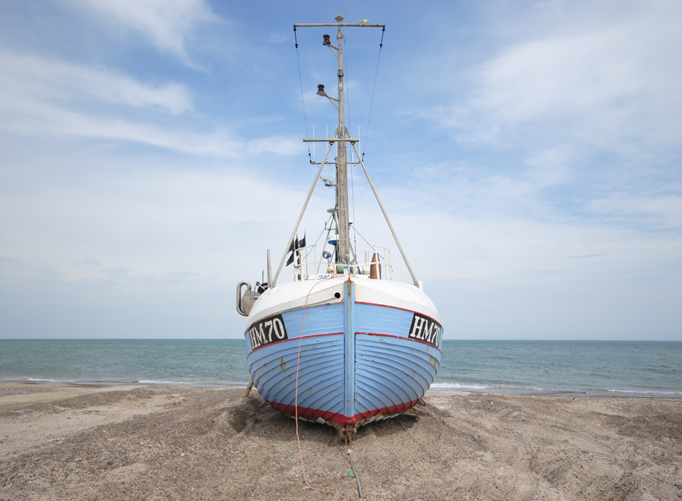 Fishing boat on the beach in Thorup Strand
