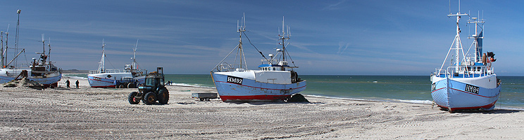 Fishing boats on the beach in Thorup Strand